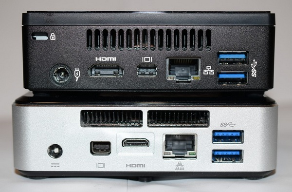 Intel NUC i5 and Gigabyte BRIX i7 connectors