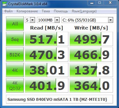 Samsung SSD 840EVO mSATA 1 TB CrystalDiskMark 3