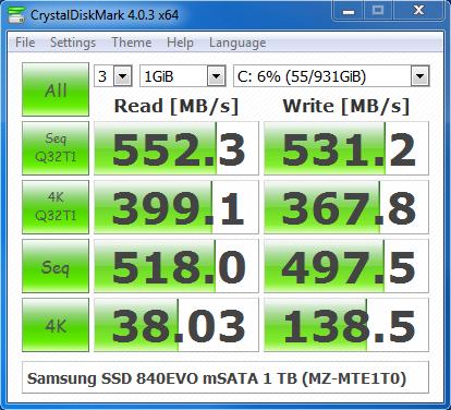 Samsung SSD 840EVO mSATA 1 TB CrystalDiskMark 4