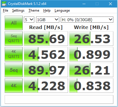 CrystalDiskMark 5 Pretec MicroSDHC 32GB
