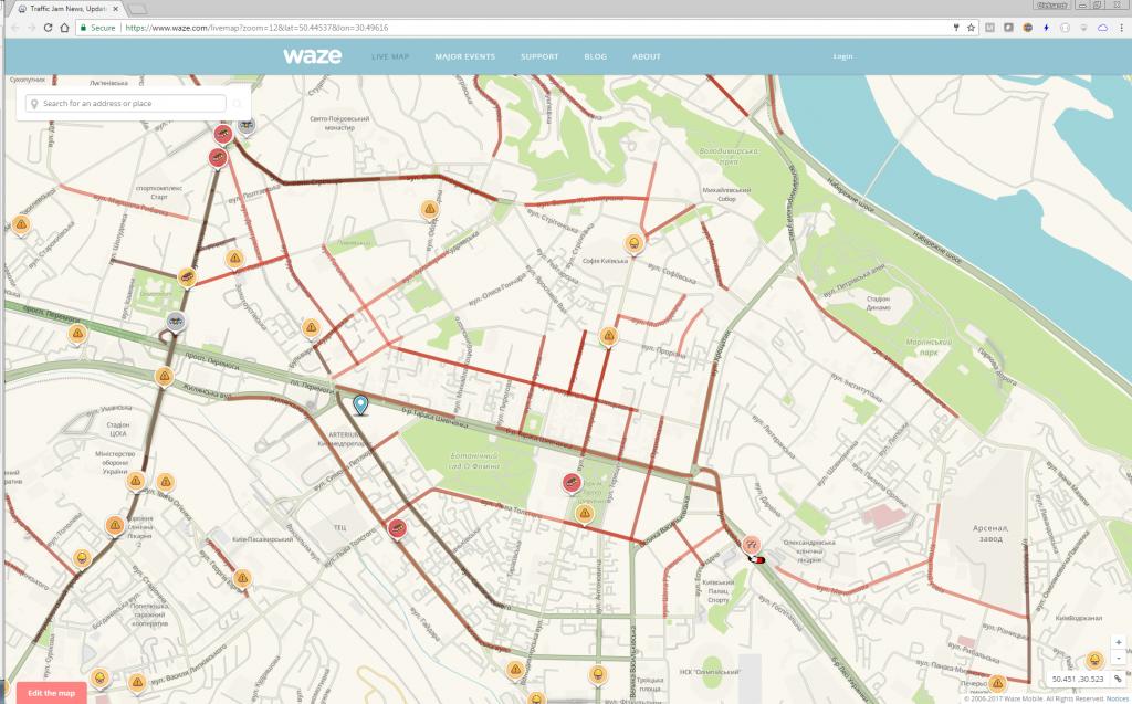 Waze online map