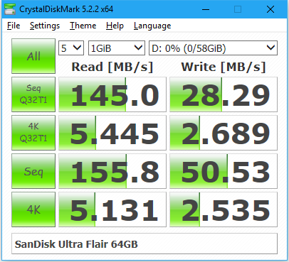 Sandisk Ultra Flair crystaldiskmark 3